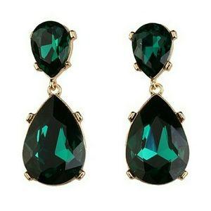 Stunning Statement Emerald Green Drop Earrings